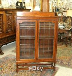 Antique English Barley Twist Oak 2 Leaded Glass Door Bookcase / Display Cabinet