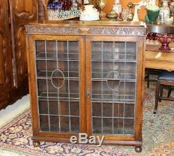 Antique English Jacobean Oak Leaded Glass 2 Door Bookcase / Display Cabinet