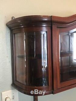 Antique French Curio Cabinet Display Beveled Glass Doors Wall Mounted Shelf Wow