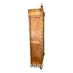 Antique French Faux Bamboo Glass Door Cabinet