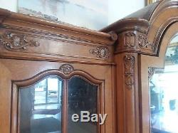 Antique French Louis XVI Style Oak Armoire H 89 x W 81 3 Door China Cabinet