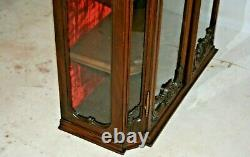 Antique French Walnut Wall Hanging Vitrine Glass Door and Sides Display Shelves