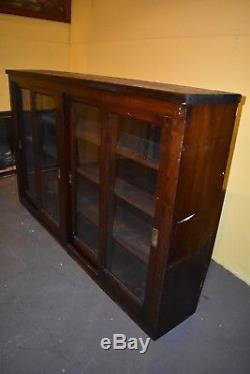 Antique General Country Store Sliding Glass Door Display Case Cabinet