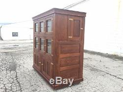 Antique Ice Box McCray Icebox Glass Doors Wood Cabinet Bar Cooler