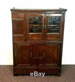 Antique Japanese Elm Cabinet with Glass Doors