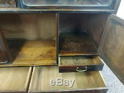 Antique Japanese Elm & Persimmon Wood Display Cabinet with Glass Doors