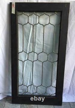 Antique LEADED GLASS CABINET DOOR PAINTED OAK FRAME (A)