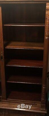 Antique Law Office Bookcase Cabinet Cherry Wood Glass Door Shelves Carved 1800s