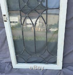 Antique Leaded Glass Cabinet Cupboard Pantry Door Bookcase Window Old 1433-16