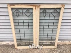 Antique Leaded Glass Oak Cabinet Doors Stained Leaded Glass Windows Circa 1915