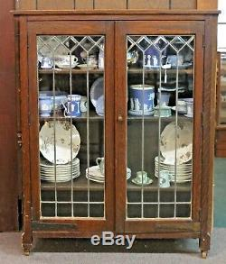 Antique MISSION Style Oak BOOKCASE CABINET with LEADED BEVELED GLASS Doors