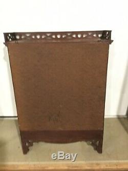 Antique Mahogany Hanging Curio glass door cabinet With Fretwork