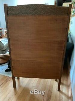 Antique Mission Oak Bookcase Cabinet with Leaded Glass Doors and Sides