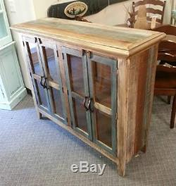 Antique Multi Color Pine Console Cabinet with4 Doors