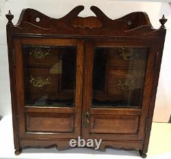 Antique OAK PIPE SMOKERS CABINET With BEVELED GLASS DOORS ENGLAND