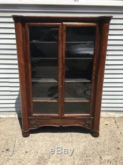 Antique Oak Bookcase 2 Door Glass Cabinet Circa 1910 60 by 44
