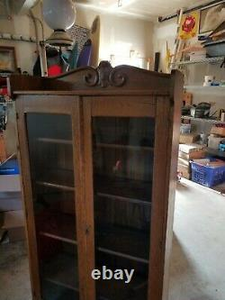 Antique Oak China Cabinet Bookcase Display case double glass door