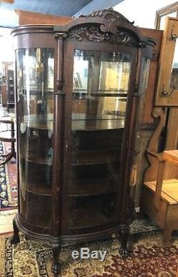 Antique Oak China Curio Cabinet Original Curved Glass In Door & Sides