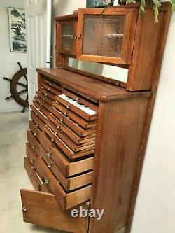 Antique Oak Dental Cabinet Etched Glass Doors and Drop Down Glass Cover