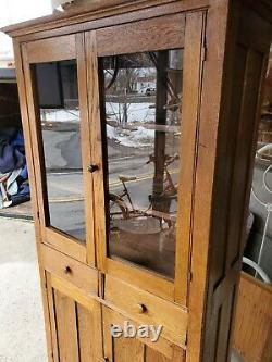 Antique Oak Kitchen Cupboard Cabinet with drawers top glass Doors