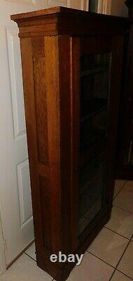 Antique Oak Mission Style Arts & Crafts Hand Made Glass Door Cabinet