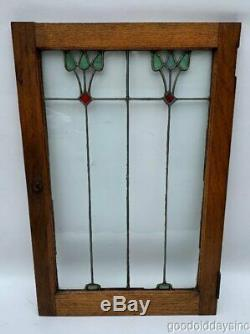 Antique Oak Stained Leaded Glass Window / Cabinet Door from Chicago 30 x 20