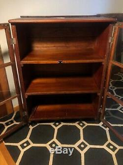 Antique Oak Wood Bookcase Glass Doors Barrister 3 Shelf 6 View Display Cabinet