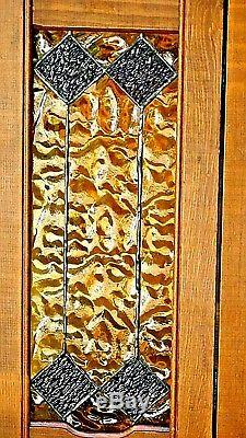 Antique Pair Of Doubled Beautiful Stained Glass Framed And Hinged Cabinet Doors