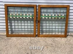 Antique Pair of Oak Stained Leaded Glass Cabinet Door / Window 32 by 29