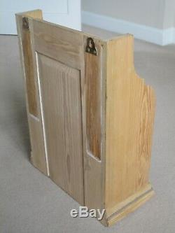 Antique Pine Bathroom Cabinet Cupboard Wall Cabinet Glass Door Pale Wood