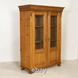 Antique Pine Bookcase Cabinet with Glass Doors