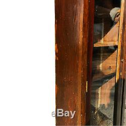 Antique Pine Country Farmhouse Double Glass Door Bookcase Cabinet