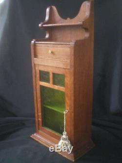 Antique Primitive Oak Wood Spice Cabinet With Green Stained Glass Door Estate