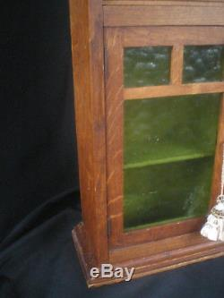 Antique Primitive Oak Wood Spice Cabinet With Green