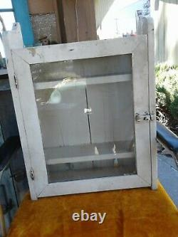 Antique Primitive Painted White Wood Medicine Wall Cabinet glass door 18x23x6