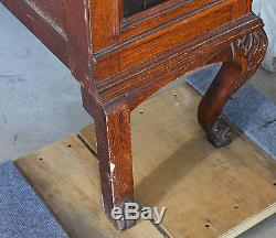 Antique Quality double door Oak China Cabinet with Beveled Glass and oak shelves