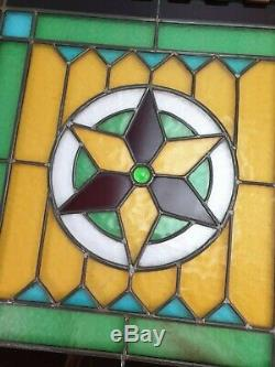 Antique Reclaimed Cabinet Door Leaded Stained Glass Panel Square
