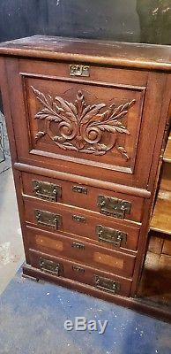 Antique Secretary side by side drop front desk bookcase cabinet with glass door