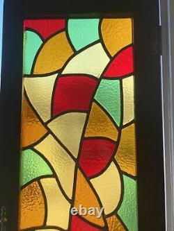 Antique Stained glass cabinet doors wood frame 16.5x50 Panels 12x45 PICK UP NJ