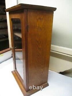 Antique Table Top Oak Display Cabinet With Two Shelves & Glass Door
