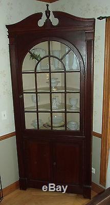 Antique Vintage Ornate Corner Cabinet 91 Inches Tall Glass Panel Swinging Doors