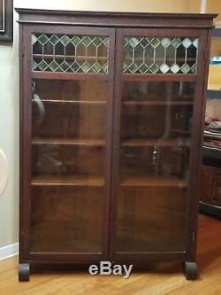Antique Wooden China Hutch Bookcase Cabinet Cupboard Original Stain Glass Doors