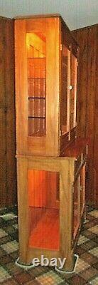Antique step back pine, hutch, cabinet 1880's lighted with glass doors & sides