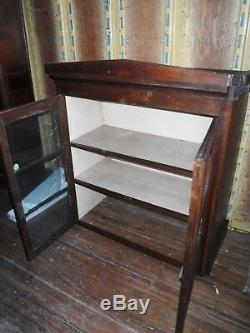 Antique wood glass 2 door china cabinet cupboard hutch top piece only stepback