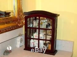 Apothecary Curio Wood Cabinet for Medicine Cosmetics VTG Glass Door Oval Cut Top