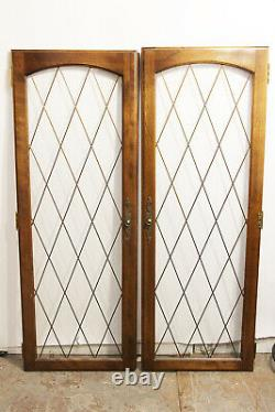 Architectural Salvage Cabinet Doors Glass Paned Wood Frame w. Brass Grilles