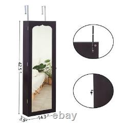 Armoire Large Jewelry Box Organizer Cabinet Mirror Wall Door Mounted with6 Drawers