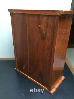 Art Nouveau Pegged Wooden Wall/Medicine Cabinet Carved & Glass Door