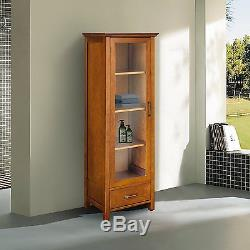 Avery Brown Country Linen Floor Cabinet w Glass Door & Drawer for Storage