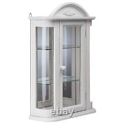 BN15221 Rosedale Hardwood Wall Curio Cabinet Lily WhiteFinish